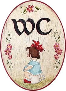 cartel de madera baño chicas