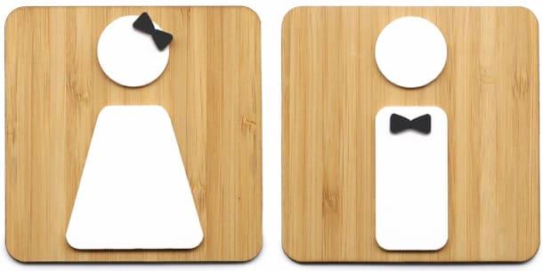 Cartel original de madera para el lavabo, wc, aseo y baño