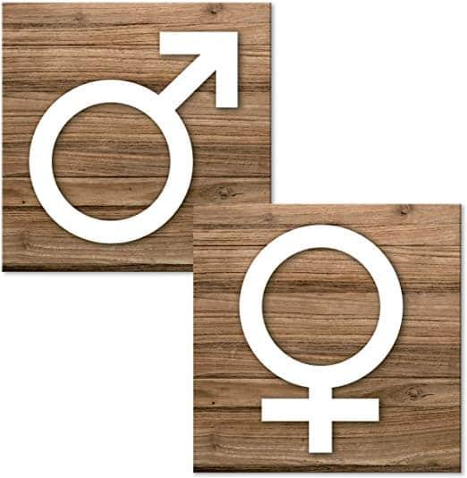 Simbolos femenino y varon en letreros para banos de aseos wc