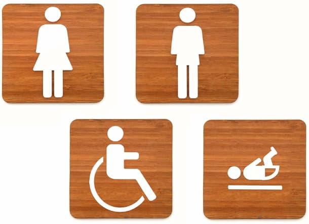 pack de placas de madera para señalizar los baños de minusvalidos, bebes, hombres y mujeres